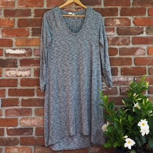 GAP Heathered Gray Long Sleeve Midi Dress